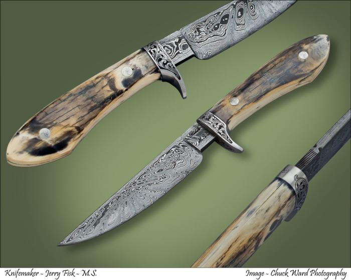 Knife Gallery (SOLD - Example Only)/Damascus Sendero -1 with Mammoth